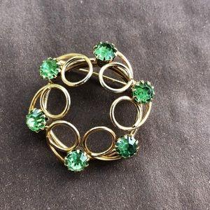 Vintage Green Rhinestone Circle Brooch